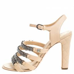 Chanel Beige Leather Reissue Chain Detail Quilted Heel Ankle Strap Sandals Size 41 257982
