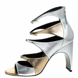 Pierre Hardy Metallic Silver/Gold Cut Out Leather Lula Sandals Size 42 256364