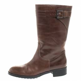 Tod's Brown Leather Mid Calf Buckle Detail Biker Boots Size 38 258553