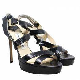 Jimmy Choo Black Embossed Leather Strappy Sandals Size 39 190036