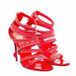 Christian Louboutin Red Patent Leather Unzip Booty Fluro Sandals Size 37.5 188360