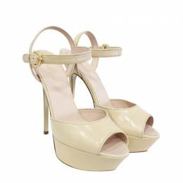 Sergio Rossi Beige Leather Donna Sandals Peep Toe Sandals Size 38.5 189152