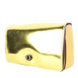 Coach Gold Patent Leather Clutch Bag 191478
