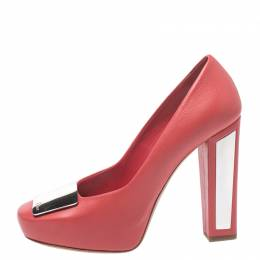Dior Red Leather Metal Plate Block Heel Pumps Size 38 270114