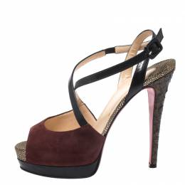 Christian Louboutin Multicolor Suede, Python And Leather Platform Ankle Strap Sandals Size 38 269928