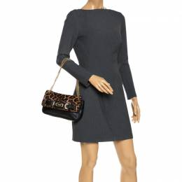 MICHAEL Michael Kors Black Leopard Print Calfhair and Leather Buckle Flap Shoulder Bag 268181