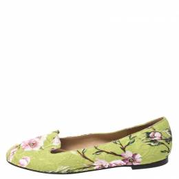Dolce and Gabbana Multicolor Floral Print Brocade Flat Smoking Slippers Size 38 269203