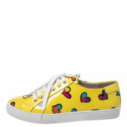 Boutique Moschino Yellow Patent Leather Heart Low Top Lace Up Sneakers Size 38 269201