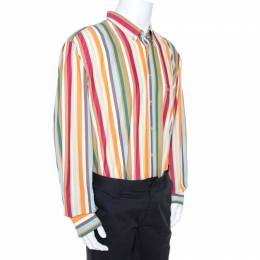 Burberry Multicolour Striped Cotton Button Down Long Sleeve Shirt 4XL 269409