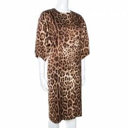Dolce and Gabbana Brown Animal Print Silk Lightweight Coat S 269347