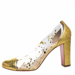 Christian Louboutin Gold Textured Leather and PVC Lady Gena Pumps Size 40 269424
