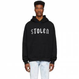 SSENSE Exclusive Black Glitter Logo Hoodie Stolen Girlfriends Club SS-19221B-G