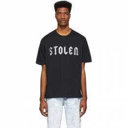 SSENSE Exclusive Black Glittered Logo T-Shirt Stolen Girlfriends Club SS-T001B-G
