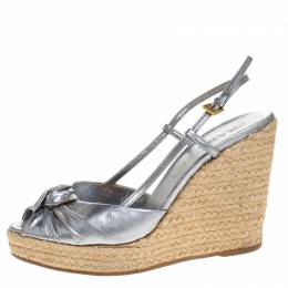 Prada Silver Leather Knot Open Toe Espadrille Wedge Slingback Sandals Size 38 269231