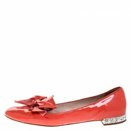 Miu Miu Orange Patent Leather Bow Smoking Slippers Size 38 270250