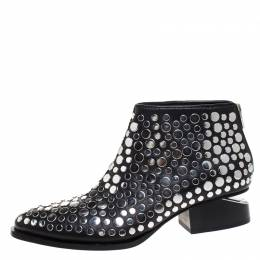Alexander Wang Black Studded Leather Gabi Ankle Boots Size 36 268934