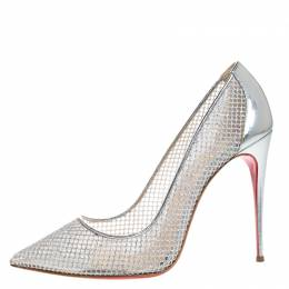 Christian Louboutin Silver Mesh Follies Resille Pointed Toe Pumps Size 41 270694