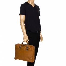 Cole Haan Light Brown Leather Laptop Briefcase Bag 270963