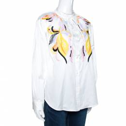 Valentino White Cotton Poplin Floral Embroidered Button Front Shirt M 270888