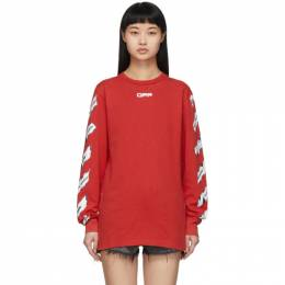 Off-White Red Airport Tape Long Sleeve T-Shirt OMAB001S201850032088