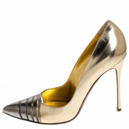 Sergio Rossi Metallic Gold/Grey Leather and PVC Claire Pointed Toe Pump Size 40 271280
