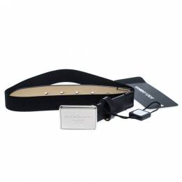 Dolce and Gabbana Black Leather and Elastic Logo Plaque Belt 63CM 271109