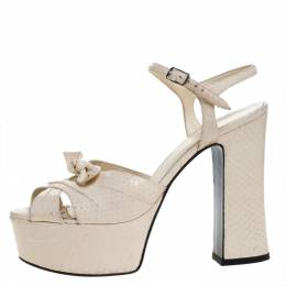 Saint Laurent Beige Python Candy Bow Platform Sandals Size 38 271074 Saint Laurent Paris