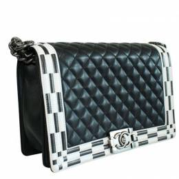 Black Quilted Leather Large Chanel Boy Bag Chanel