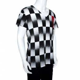 Dior Homme Monochrome Checker Print Cotton V Neck T-Shirt L