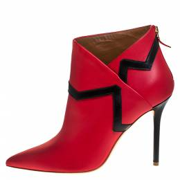 Malone Souliers Red/Black Leather Amelie Pointed Toe Ankle Boots Size 40.5 271619