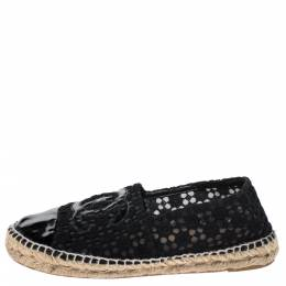 Chanel Black Lace And Patent Leather CC Espadrilles Size 38 272366