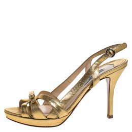 Prada Metallic Gold Saffiano Leather Bow Open Toe Slingback Sandals Size 38 272504