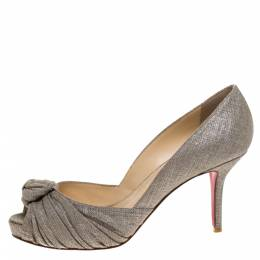 Christian Louboutin Grey/Silver Canvas Knotted Greissimo Platform Pumps Size 38.5 273189