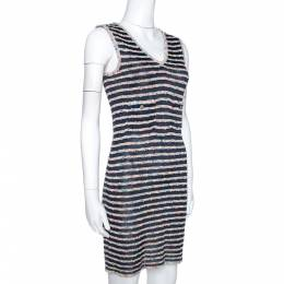 Chanel Multicolor Textured Stripe Knit Shift Dress S 273391