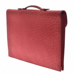 Hermes Red Ostrich Leather Kirius Briefcase