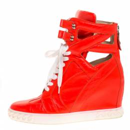 Casadei Orange Leather Wedge High Top Sneakers Size 40 274201
