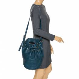 Alexander Wang Blue Textured Leather Diego Bucket Bag 273789