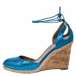 Aquazzura Blue Glitter Fabric And Leather Palm Beach Ankle Tie Cork Wedge Sandals Size 38 274418