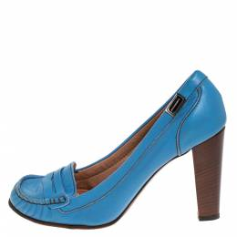 Dolce and Gabbana Blue Leather Loafer Pumps Size 41 274517