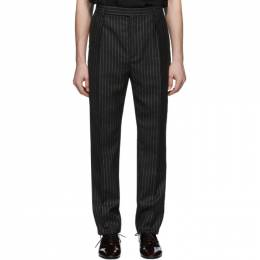 Saint Laurent	 Black and Silver Lame Trousers 596936Y1A90
