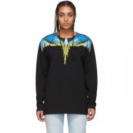 Marcelo Burlon County Of Milan Black and Yellow Wings Long Sleeve T-Shirt CMAB007S20JER0011015