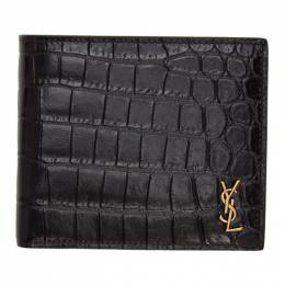 Saint Laurent	 Black Croc-Embossed Tiny Monogramme East/West Wallet 607727DZEDW