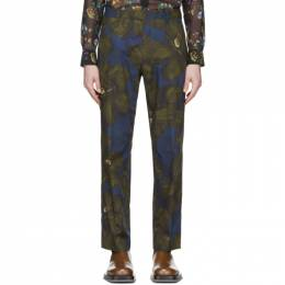 Dries Van Noten Khaki and Navy Satin Floral Trousers 20920-9003-606