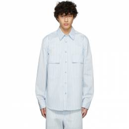 Sies Marjan Blue and White Striped Torres Shirt M7OO325-22031KD
