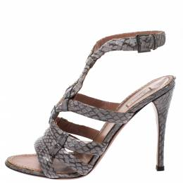 Alaia Grey Python Leather Strappy Open Toe Slingback Sandals Size 39 275344