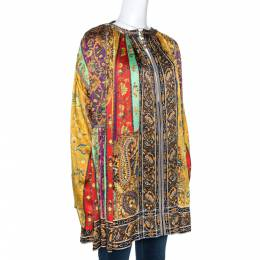 Etro Multicolor Panelled Print Silk Pleated Tunic Top L 274631