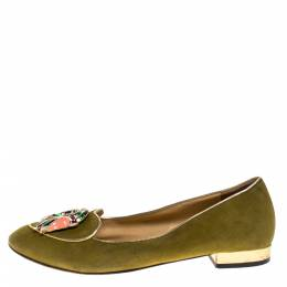 Charlotte Olympia Green Suede Capricorn Smoking Slippers Size 37.5 275100