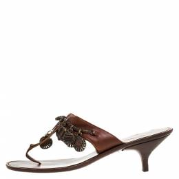 Oscar de la Renta Brown Leather Charm Embellished Kitten Heel Sandals Size 37.5 274997
