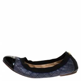 Tory Burch Blue/Black Patent And Leather Quilted Detail Scrunch Ballet Flats Size 38 275490