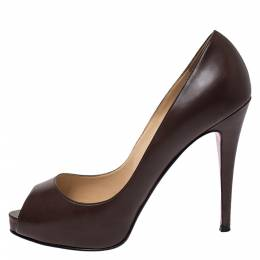Christian Louboutin Brown Leather New Very Prive Peep Toe Pumps Size 39 275739